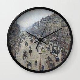 Camille Pissarro - Boulevard Montmartre - Morning, Grey Weather Wall Clock
