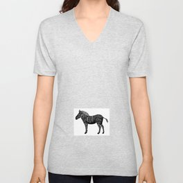 Black Zebra  Unisex V-Neck