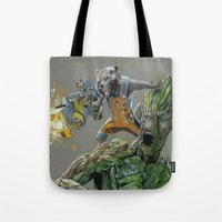 guardians of the galaxy Tote Bags featuring Guardians by theMAINsketch