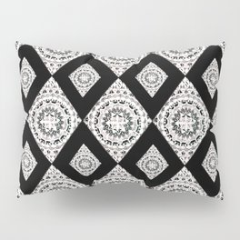 Metallic White Silver & Black Mandala Diamonds Textile Pillow Sham