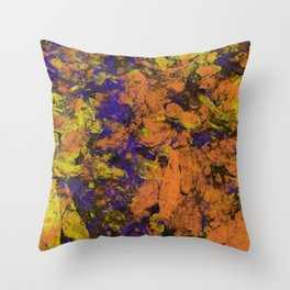Vivid - Abstract, textured painting in amber, yellow and blue Throw Pillow
