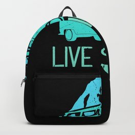Live Simple Camping Mountains Hippie Bus Nature Backpack
