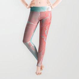 Romantic aqua and pink flower, digital abstracts Leggings