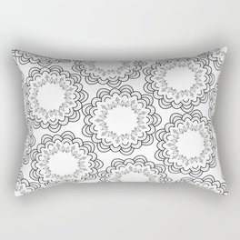 Abstract geometrical black white hand painted mandala Rectangular Pillow