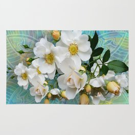 White Blooms and Yellow Roses Rug