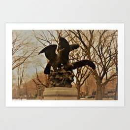 Eagles and Prey Sculpture in NYC Central Park Art Print