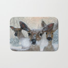 Deer in the Snowy Woods Bath Mat