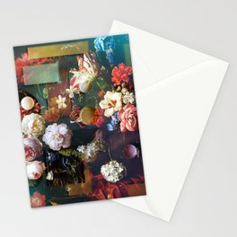 Midnight Geometric Flowers Stationery Cards