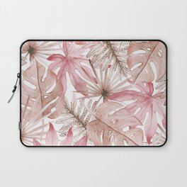 Blush Tropical Leaves Laptop Sleeve