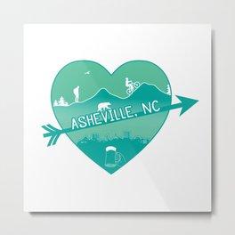 Asheville, NC - AVL 8 Green Metal Print