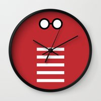 waldo Wall Clocks featuring Where's Waldo Minimalism by Dianne Delahunty