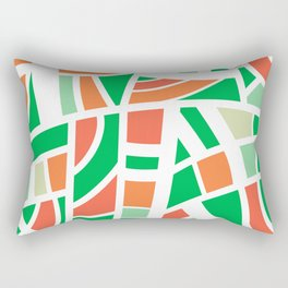 Broken Green And Orange Abstract Rectangular Pillow