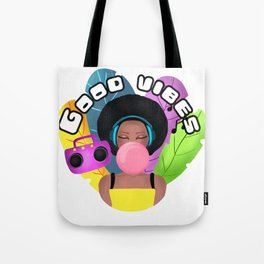 Afro girl with headphones and chewing gum listening music Tote Bag
