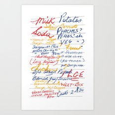 Grandmother's Shopping List Art Print