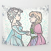 sisters Wall Tapestries featuring Sisters by grapeloverarts