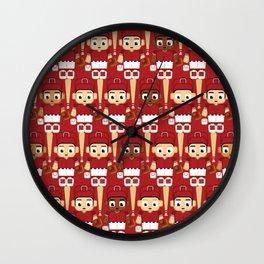Baseball White and Red - Super cute sports stars Wall Clock