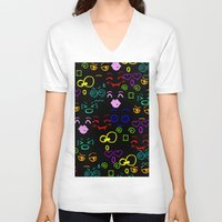 faces V-neck T-shirts featuring Faces by LoRo  Art & Pictures