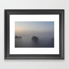 Buildings in the Mist Framed Art Print