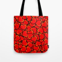 hearts Tote Bags featuring Heart by 10813 Apparel