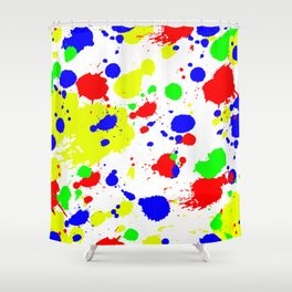 Colorful Paint Splatter. Shower Curtain