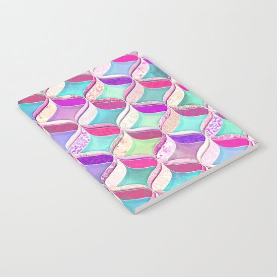 Patchwork Ribbon Ogee Pattern with Pink & Purple Notebook