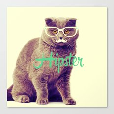 Turquoise Funny Cat Cute Hipster Glasses Mustache Canvas Print