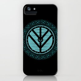 Viking Shield Maiden Norse Knot Work & Teal Shield iPhone Case
