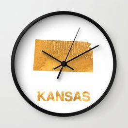 Kansas map outline Sandy brown clouded watercolor Wall Clock