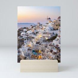 Sunset over the white houses of Santorini, Greece | Travel photography Europe Mini Art Print