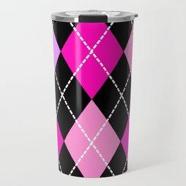 Pink Lavender Black Argyle Travel Mug