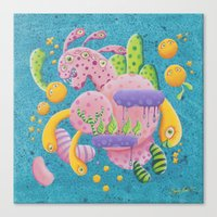psychadelic Canvas Prints featuring Psychadelic Pink by sophie gerl