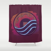 airbender Shower Curtains featuring Sounds Perfect by Rockabirdie