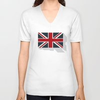 union jack V-neck T-shirts featuring Union by rob art | simple