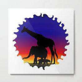 Silhouette elephant, giraffe, tiger in africa sunrise Metal Print
