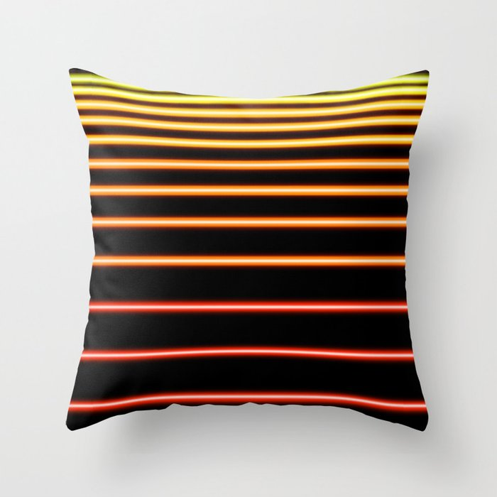 Red to Yellow Neon Throw Pillow