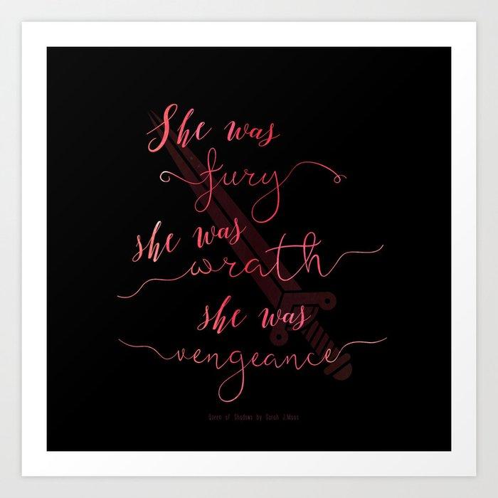 Queen of Shadows Book Quote Design Art Print