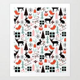 Christmas ornaments minimal holly reindeer candy cane christmas tree pattern print Art Print