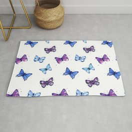 Butterfly Pattern Blue Purple Rug