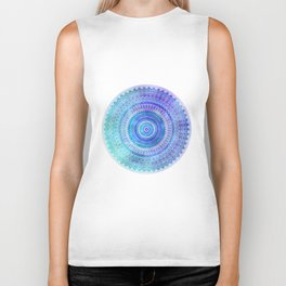 Blue Turquoise And Purple Watercolor Mandala Art Biker Tank