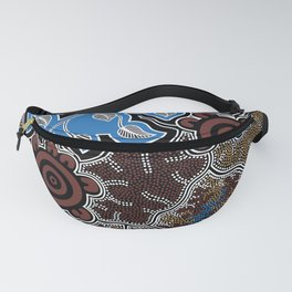 Water Lilly Dreaming - Authentic Aboriginal Art Fanny Pack