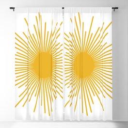 Mid Century Modern Sunburst Sun in Mustard and White Blackout Curtain