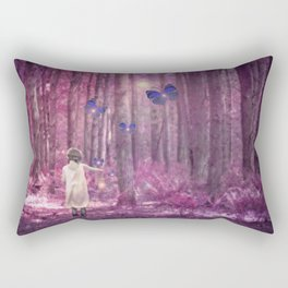 Girl in Bright Purple and Pink Forest with Butterflies Rectangular Pillow