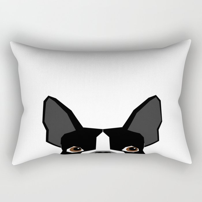 Boston Terrier head peeking cute dog gifts funny must haves boston terriers Rectangular Pillow