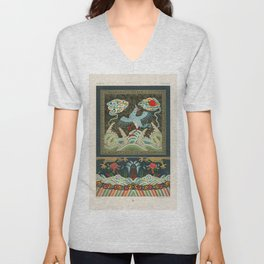 Chinese pattern from L'ornement Polychrome (1888) by Albert Racinet (1825-1893) Unisex V-Neck