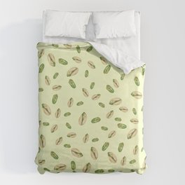 watercolor green and yellow pistachios Duvet Cover