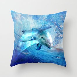 Watercolor Dolphin  Digital Art Throw Pillow