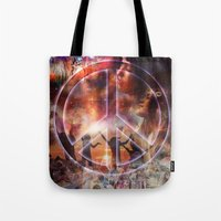 woodstock Tote Bags featuring Woodstock Peace by ZiggyChristenson
