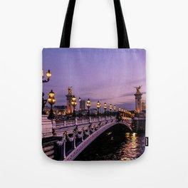 Sunset over Paris Bridge (Color) Tote Bag