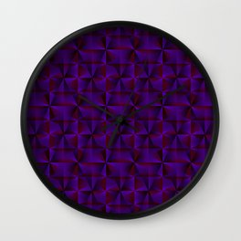 A chaotic mosaic of convex rhombuses with violet intersecting bright lines and squares. Wall Clock