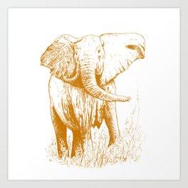 Elephant caramel Art Print